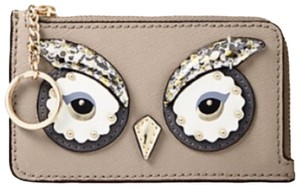 Kate Spade owl poppy embellished leather card case w keychain