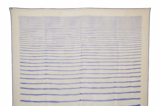 Hermès Hermes White with Blue Lines Print Design Mousseline 100% Silk Scarf 3 Image 1