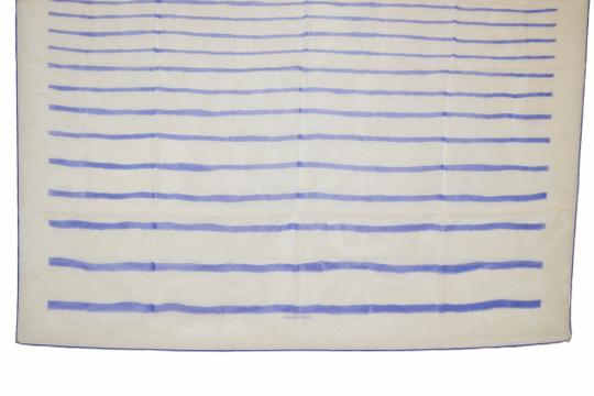 Hermès Hermes White with Blue Lines Print Design Mousseline 100% Silk Scarf 3 Image 2