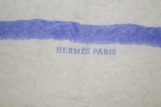 Hermès Hermes White with Blue Lines Print Design Mousseline 100% Silk Scarf 3 Image 4