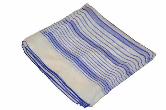 Hermès Hermes White with Blue Lines Print Design Mousseline 100% Silk Scarf 3 Image 5