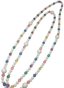 Vintage Vintage white & colorful crystal bead long necklace