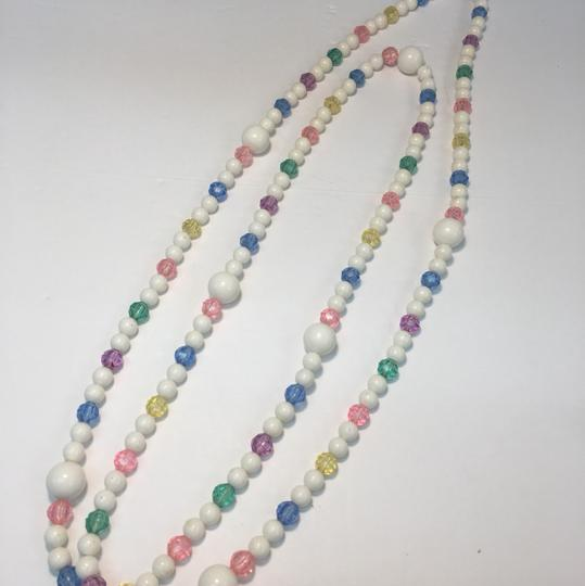 Vintage Vintage white & colorful crystal bead long necklace Image 1