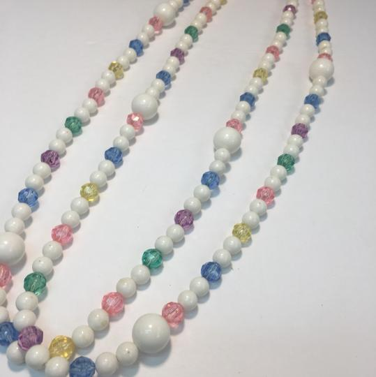 Vintage Vintage white & colorful crystal bead long necklace Image 2