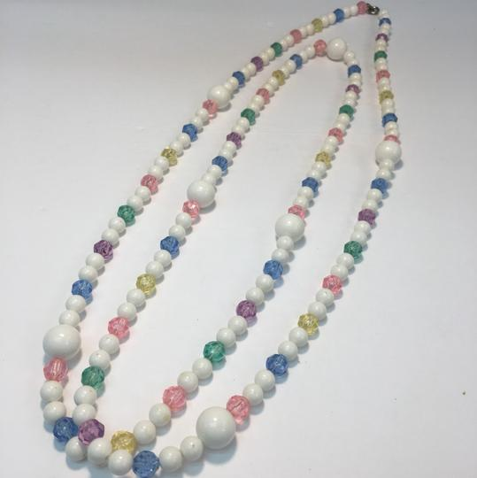 Vintage Vintage white & colorful crystal bead long necklace Image 3
