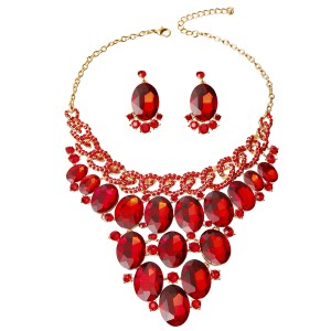 UNBRANDED Crystal Bib Necklace Set