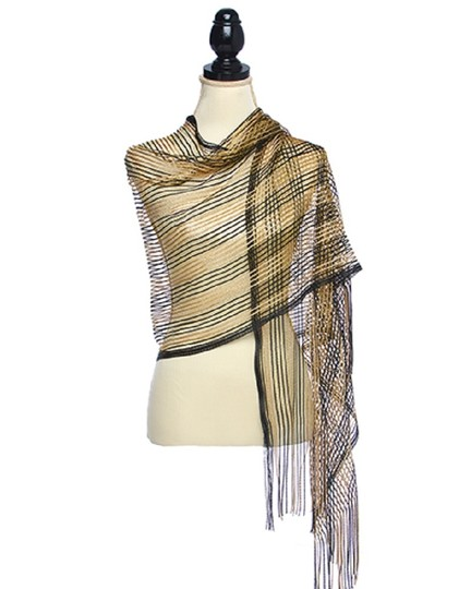 UNBRANDED Black & Gold 100% Polyester Open Weave Two-tone Metallic Shawl Image 1