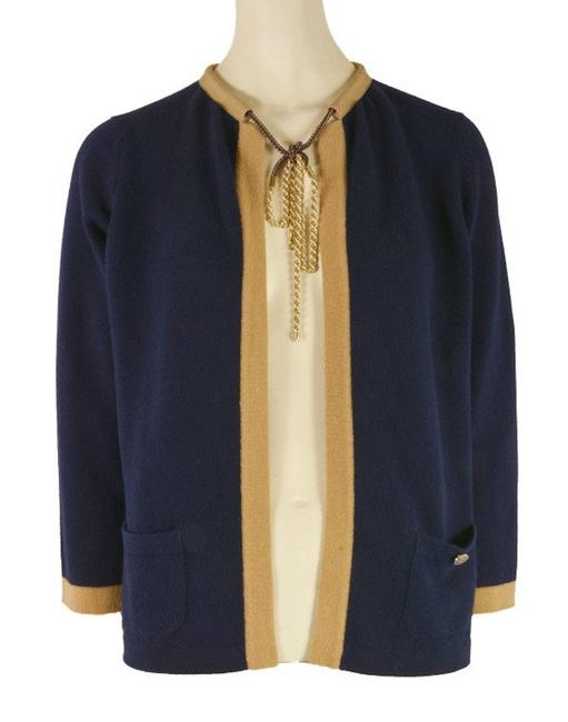 Preload https://img-static.tradesy.com/item/24623720/chanel-navy-blue-new-cashmere-sweater-and-gold-cardigan-size-4-s-0-0-650-650.jpg