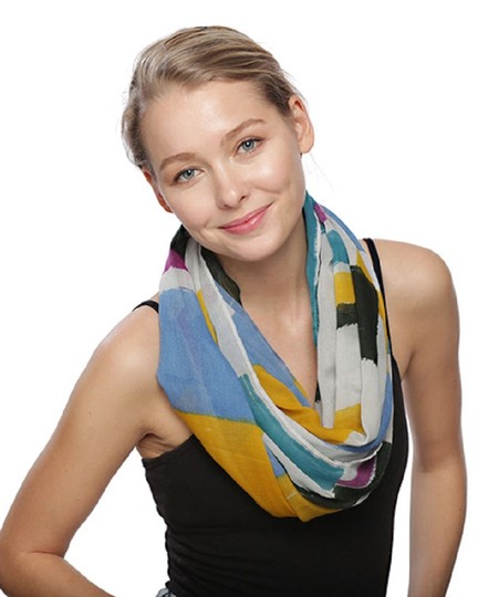 UNBRANDED Multi Color Block Infinity Scarf Image 2
