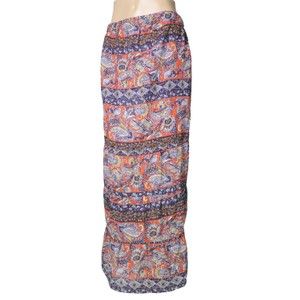 Line & Dot Floral Paisley Maxi Skirt Red