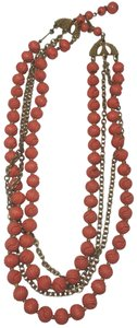 Vintage Vintage gold chain multi strand red bead necklace