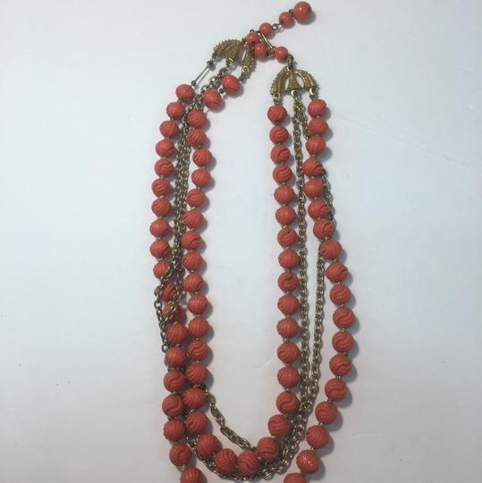 Vintage Vintage gold chain multi strand red bead necklace Image 1