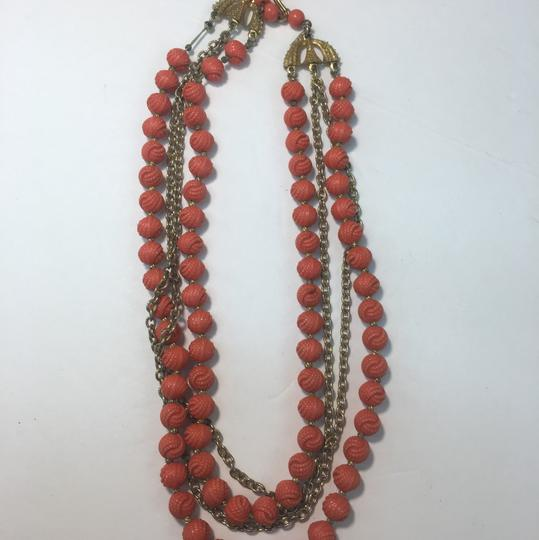 Vintage Vintage gold chain multi strand red bead necklace Image 2