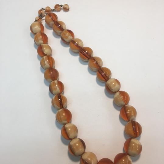 Vintage Vintage brown & cream glass beaded necklace Image 1