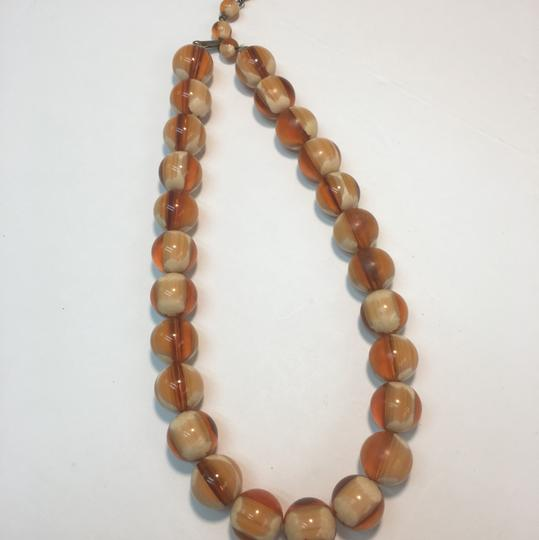 Vintage Vintage brown & cream glass beaded necklace Image 2