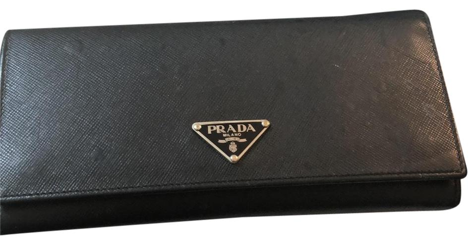 898f89b23448 Prada Black Continental Saffiano Leather Wallet - Tradesy
