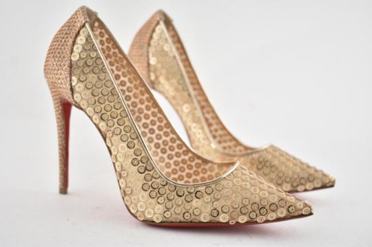 Christian Louboutin Pigalle Follies Stiletto Glitter Classic nude Pumps Image 3