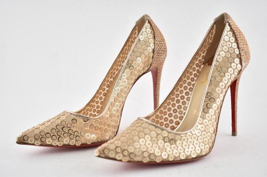Christian Louboutin Pigalle Follies Stiletto Glitter Classic nude Pumps Image 8