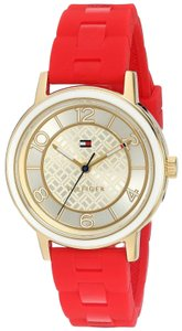 Tommy Hilfiger Tommy Hilfiger Nina Red Silicone Strap Champagne Dial Women's Watch