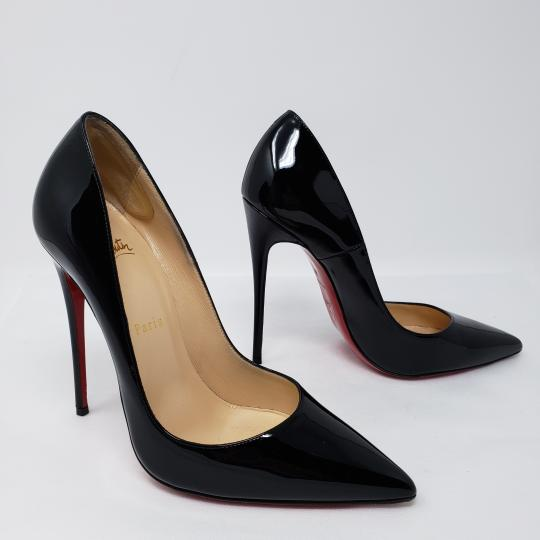 Christian Louboutin Patent Leather Pointed Toe So Kate Pigalle Crystal Black Pumps Image 3