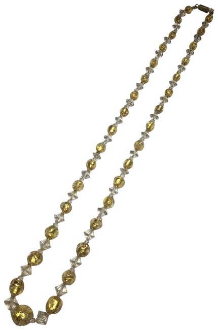 Gold Metallic Crystal Glass Beaded Necklace Gold Metallic Crystal Glass Beaded Necklace Image 1