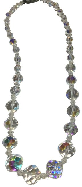 Silver Aurora Borealis Crystal Glass Beaded Necklace Image 1