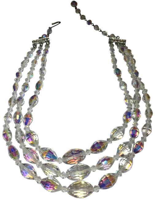 Silver Aurora Borealis Crystal Glass Beaded Necklace Silver Aurora Borealis Crystal Glass Beaded Necklace Image 1