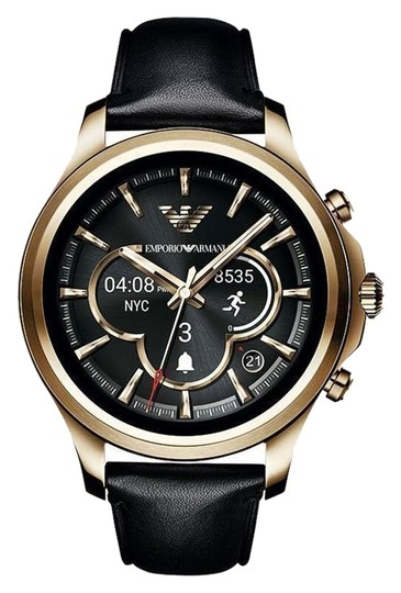 Preload https://img-static.tradesy.com/item/24624236/emporio-armani-black-gold-tone-leather-touchscreen-smartwatch-art5004-watch-0-1-540-540.jpg