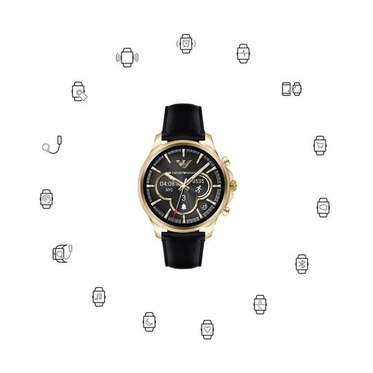 Emporio Armani Emporio Armani Gold Tone Black Leather Touchscreen SmartWatch ART5004