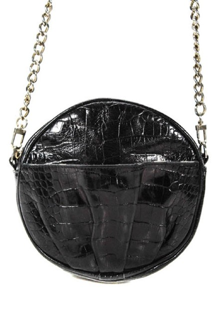 Rebecca Minkoff Round Canteen Style Purses Black Crocodile Embossed Leather with A Chrome Chain Strap Cross Body Bag Image 1