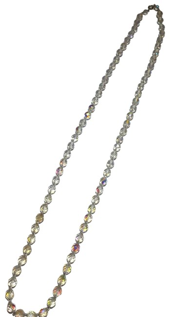 Silver Long Crystal Beaded Necklace Silver Long Crystal Beaded Necklace Image 1