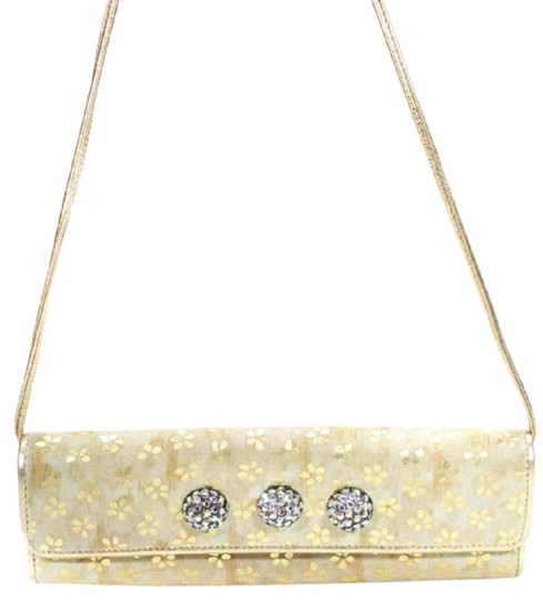 Preload https://img-static.tradesy.com/item/24624277/carlos-falchi-fatto-a-mano-by-two-way-purses-gold-suede-and-leather-with-gold-embossed-flowers-and-t-0-1-540-540.jpg