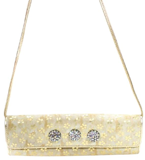 Carlos Falchi Fatto A Mano By Two-way Purses Gold Suede and Leather with Gold Embossed Flowers and Three Bold Rhinestone Accents Satchel Image 1