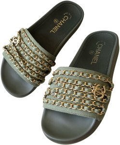 Chanel Charm Chain Cclogo Chanelchain Chanelslides Green Sandals - item med img