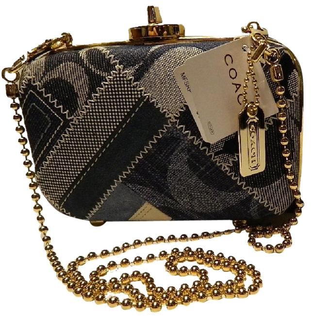 Coach ~amazing~nwt Madison Patchwork Minaudiere Navy/Blue/White/Gold Suede & Cowhide Leather/Demim Shoulder Bag Image 1
