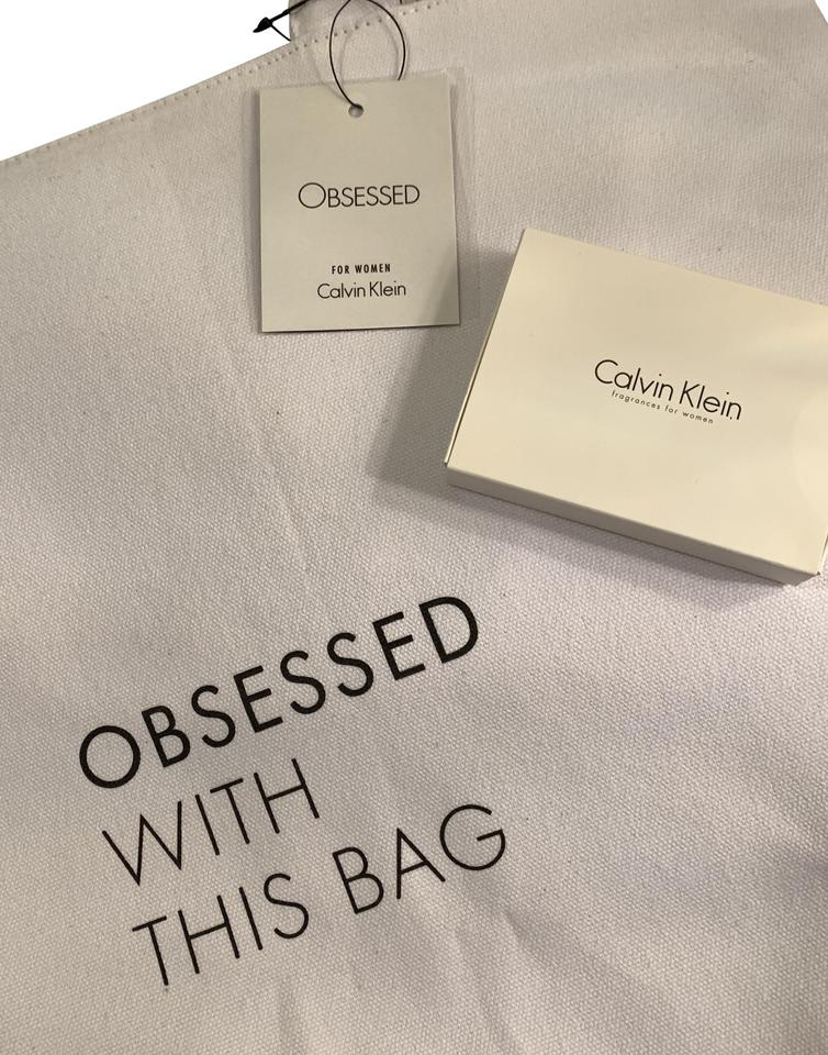 1a757bdc72f8 Calvin Klein Includes 2-free Gifts-white W Fragrances White and Silver  Cotton Canvas Vinyl Tote