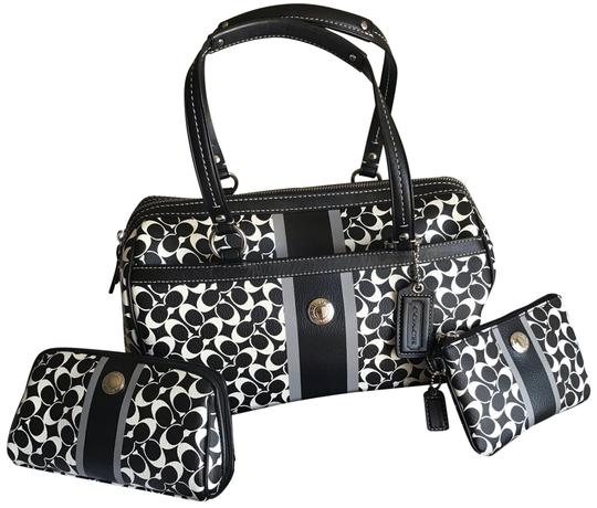 Preload https://img-static.tradesy.com/item/24624318/coach-chelsea-heritage-wristlet-accessory-black-and-white-coated-canvas-satchel-0-3-540-540.jpg