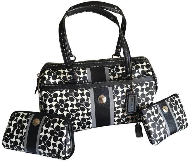 Coach Chelsea Heritage Wristlet Accessory Black and White Coated Canvas Satchel Image 1