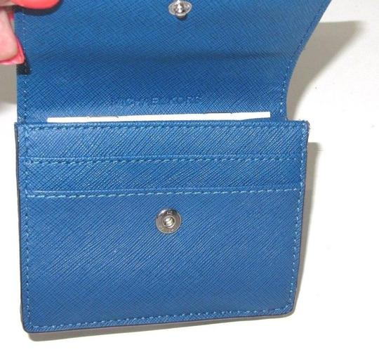 Michael Kors Leather Card Case Key Holder 191262317460 Wristlet in Steel Blue