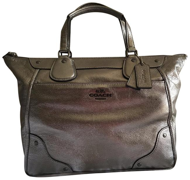 Coach Mickie Silver Leather Satchel Image 1