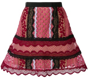 83b76129bef8 self-portrait Pink Bellis Lace Trim A-line Skirt Size 4 (S