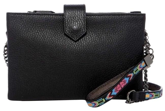 Botkier Pouch Embroidered Black Leather Cross Body Bag Botkier Pouch Embroidered Black Leather Cross Body Bag Image 1