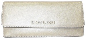 Michael Kors Leather Wallet 190049116593 Wristlet in Pale Gold