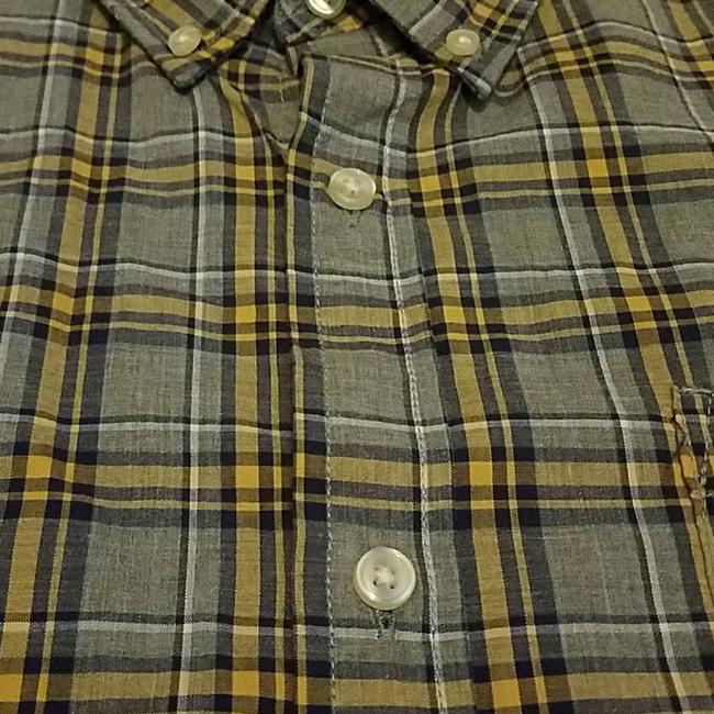 Sonoma Button Down Shirt Gray with navy and yellow plaid