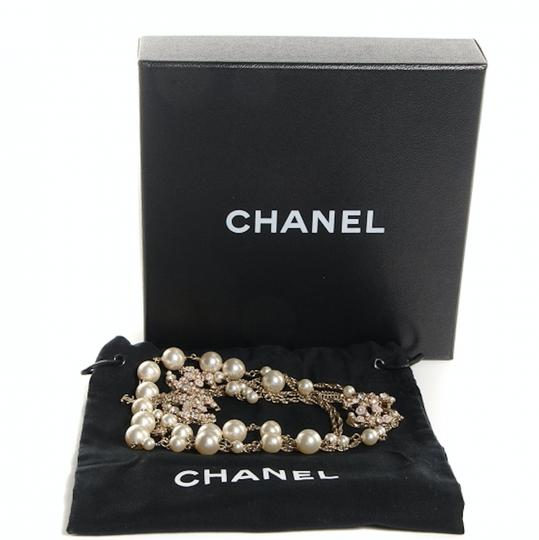 Chanel CHANEL Pearl Crystal Enamel Camellia CC Long Necklace Light Gold