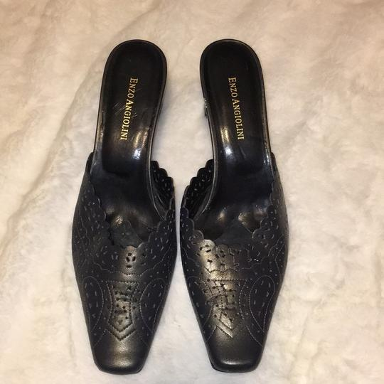 Enzo Angiolini Metallic Black/Gold Mules