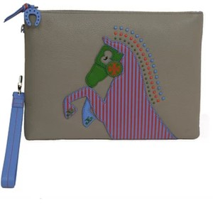 c15c9b707e0f Tory Burch Horse-Frame Horse Large Zip Pouch French Gray Leather ...