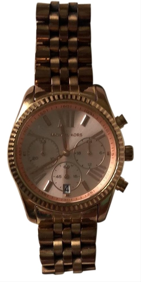 8fa87898b4f1 Michael Kors Rose Gold Large Lexington Chronograph Bracelet Watch ...
