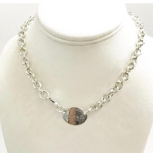 """Tiffany & Co. GORGEOUS!! Tiffany & Co. Return to Tiffany Oval Necklace 15"""" Sterling Silver 100% Authentic Guaranteed!!! Comes with Tiffany Pouch and Complimentary Tiffany Blue Colored Polishing Cloth!!!"""