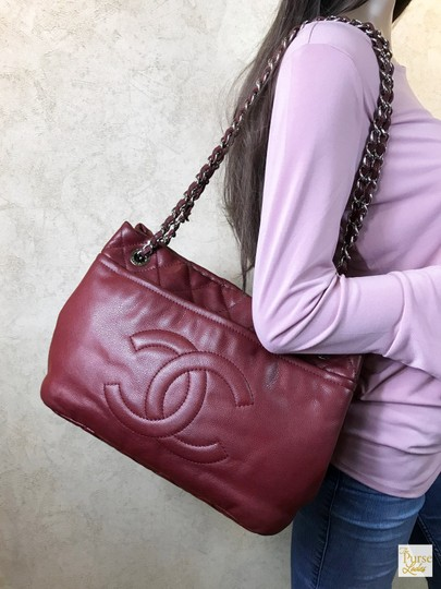 Chanel Timeless Caviar Leather Tote in Red